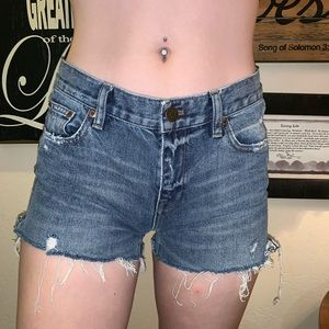 "J. Crew ""Broken in BoyFriend Frayed Jeans Shorts"